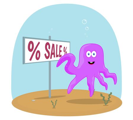 swiming: Cute Sea purple octopus swiming in ocean with plants and bubbles and showing on sign with sale text vector background Illustration