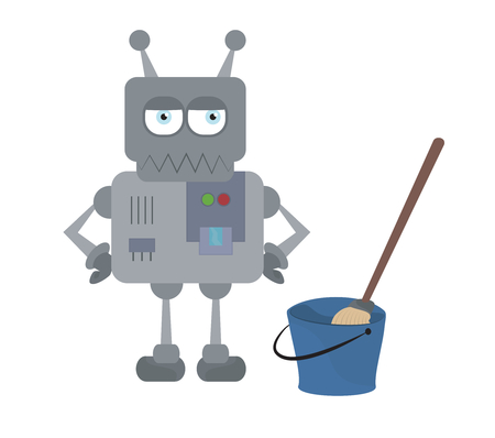 science icons: Cute sad house robot with cleaning tools standing with hands on hips vector cartoon character
