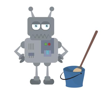 obrero caricatura: robot de casa triste linda con herramientas de limpieza de pie con las manos en las caderas personaje de dibujos animados de vectores