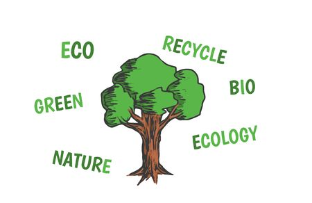 deciduous tree: Colored vector illustration of deciduous tree with eco friendly words