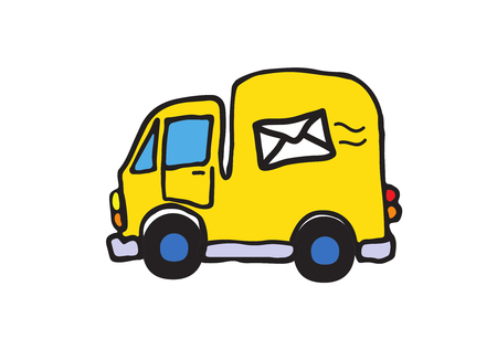 car business: Simple vector kid drawing of yellow post car auto with mail symbol on it