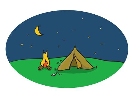 luna caricatura: Dibujo vectorial de escena de la noche de camping al aire libre con tienda de campa�a y fogata bajo el cielo de la luna Vectores
