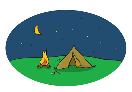 stars  background: Vector drawing of outdoor night camping scene with tent and campfire under the moon sky