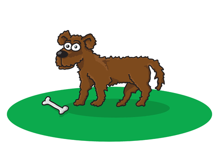cute dog: Vector color illustration drawing of brown cartoon dog with bone on white background