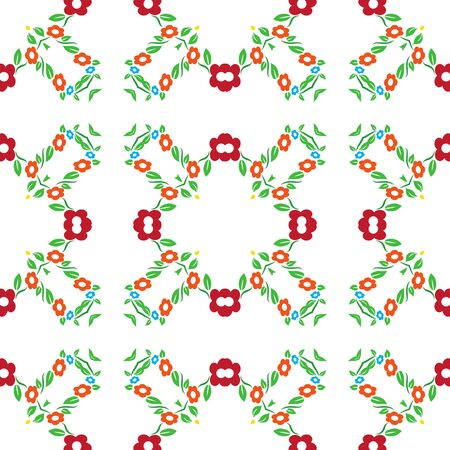 patter: Seamless colorful red and orange flower tradional ornament background patter
