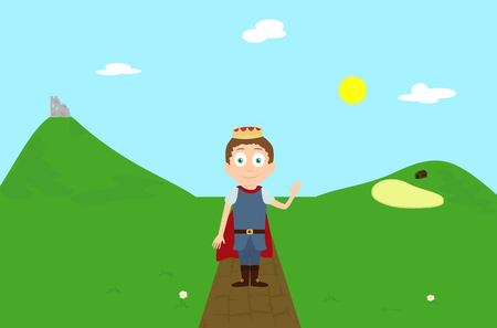 ruin: Vector cartoon illustration prince character greeting on green hill landscape scene with ruin and farm