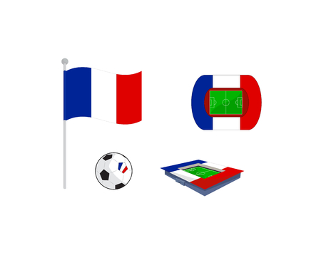 europa: Vector set of icons with flag, soccer ball and stadium for europe football championship in france