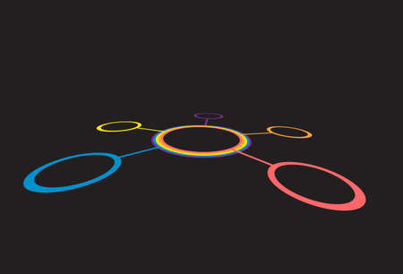 color ring: Connected round circles between each other in perspective. Abstract network. Color ring on black background
