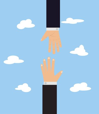 cartoon illustration with two hands against each other on blue background with clouds. Help other people. Security assistance Stock Photo