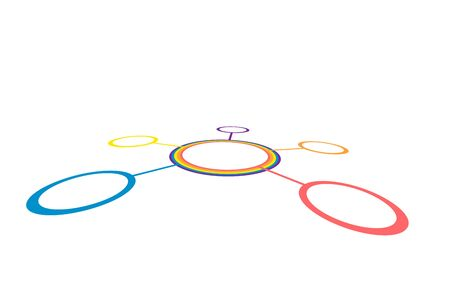 color ring: Connected round circles between each other in perspective. Abstract network vector. Color ring on white background Illustration
