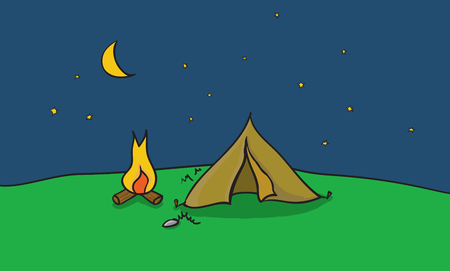 fire place: Vector illustration of camping place with tent and fire place. Outside camp at clear night sky. Scene with summer trip destination.