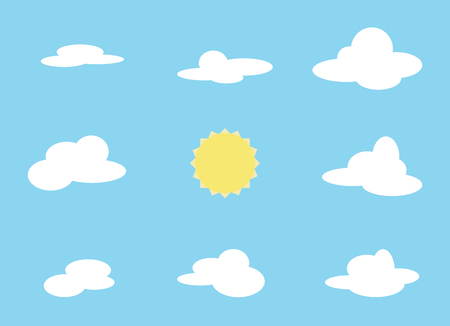 cloudy: Vector set of cloud object and sun. Collection with cartoon items on blue background. Different shapes of clouds.
