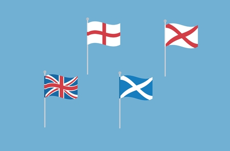 northern ireland: Vector set illustrations of great britain flags with england, scotland and northern ireland. Waving flags. Isolated on blue. Illustration