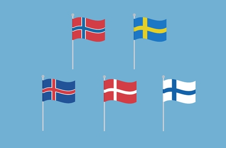 european flags: Vector set of nordic european flags. Norway. Sweden. Iceland. Finland. Denmark. Nort europe. National flags Isolated on blue Illustration