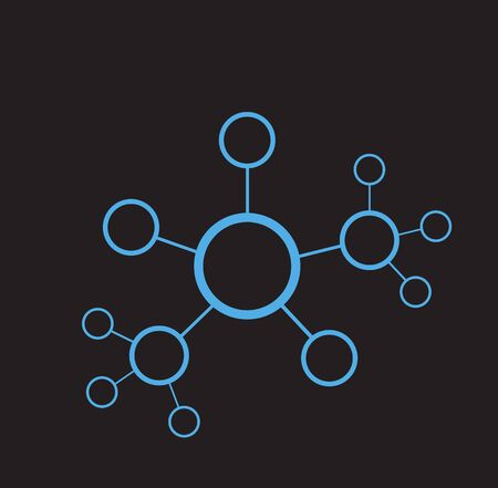 conection: Vector illustration of network sctructure. Line conection between cells. Abstract data concept. Blue color on black background.