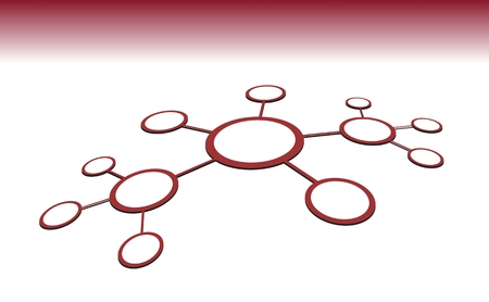 conection: Vector illustration of network sctructure. Line conection between cells. Abstract data concept. Red color on white background. 3D view.