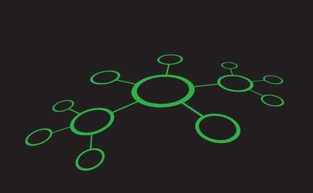 conection: Vector illustration of network sctructure. Line conection between cells. Abstract data concept. Green color on black background. 3D view.