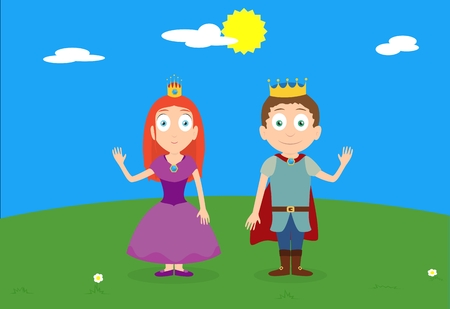 hill of the king: Cartoon vector illustration of character princess and prince on green hill under sunny sky. King and queen.