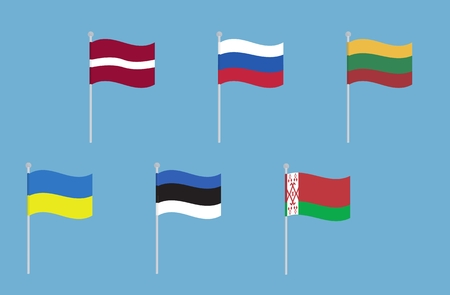 all european flags: National flags of Russia, Ukraine, Belarus, Latvia, Lithuania and Estonia. Vector set of waving flags. isolated on blue background Illustration