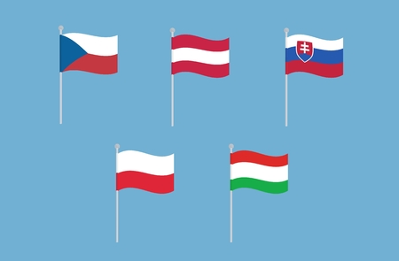 all european flags: National flags of Czech Republic, Austria, Slovakia, Poland and Hungary. Vector set of waving flags. isolated on blue background Illustration