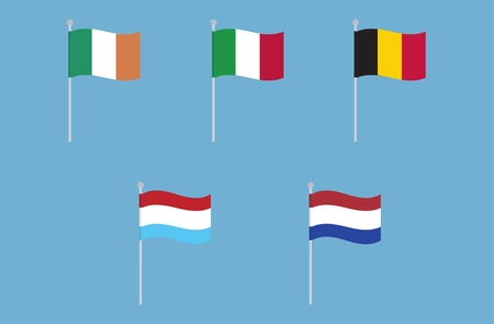 all european flags: National flags of Italy, Ireland, Belgium, Netherlands and Luxembourg. Vector set of waving flags. isolated on blue background Illustration