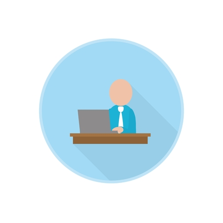 serie: Vector flat icon with office worker sitting at computer. Rounded Infographic symbol with long shadow. Finance serie. Illustration