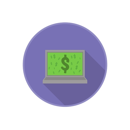 serie: Vector flat icon with computer and dollar sign on screen. Rounded Infographic symbol with long shadow. Finance serie.