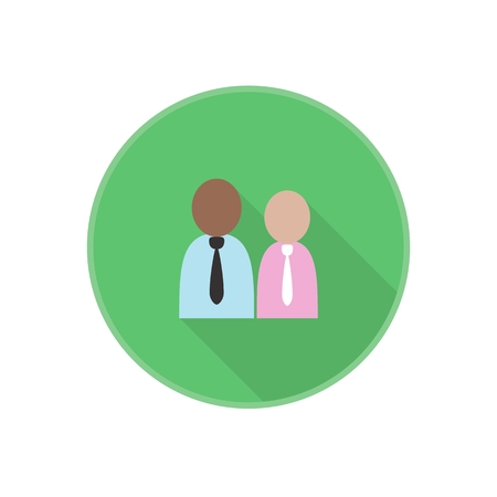 Vector flat icon with man employees silhouette. bank clerk. Rounded Infographic symbol with long shadow. Finance serie.