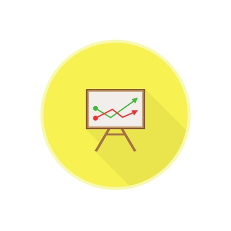 Vector flat icon with brown wodden office chalkboard with red and green chart. Rounded Infographic symbol with long shadow. Finance serie.