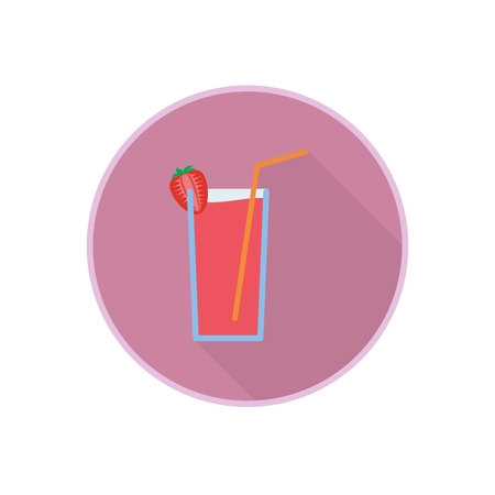 Vector symbol of fresh red strawberry juice cocktail with straw and fruit. icon with long shadow. Party holiday drink. Isolated on white. Illustration