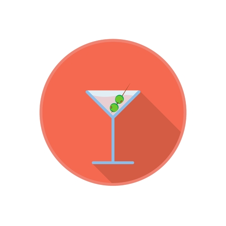 Vector symbol of pink martini drink with green olives. Flat icon with long shadow. Party holiday drink. Isolated on white.