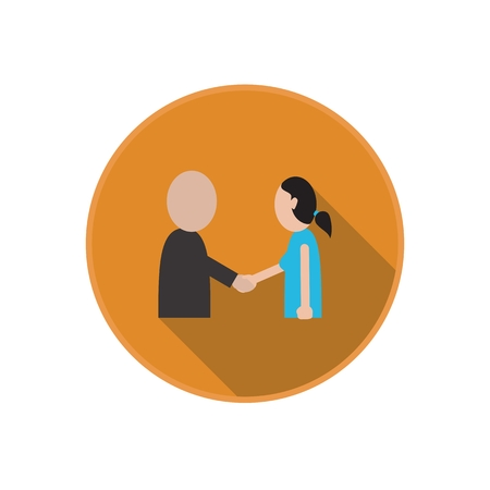 Vector flat icon of handshake between friends. Business meeting Greeting. Man and woman. Rounded Infographic symbol with long shadow. Finance serie.