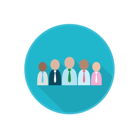 Vector flat icon with working group of co-workers. Office Employees. Rounded Infographic symbol with long shadow. Finance serie.