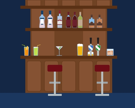 wine background: Party Bar with lots of different alcohol drinks background. Wine, cocktail, beer, martini, whiskey and vodka. Illustration