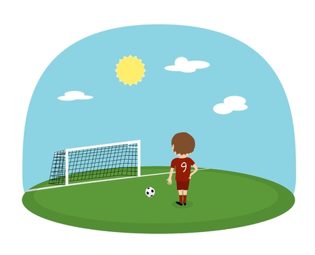Cartoon boy in red jersey with number nine practice kicking on training football stadium. Sunny day soccer background. Penalty kick