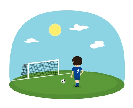 Cartoon boy in blue jersey with number nine practice kicking on training football stadium. Sunny day soccer background. Penalty kick Illustration