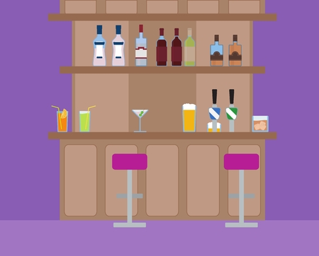 night life: Vector illustration of alcoholic and non-alcoholic drinks on the bar. Social night life. Pink purple pub.