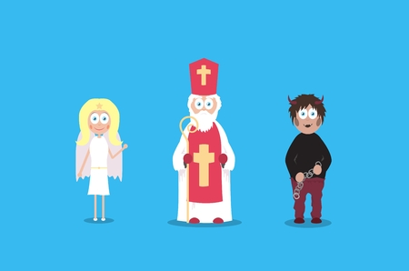 Saint Nicholas with cute angel and scary devil. Cartoon vector charaters. December european holidays. Illustration