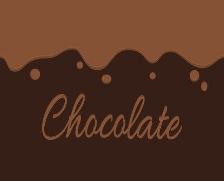 trickling: Vector of trickling dark chocolate and label background. Simple illustration banner.