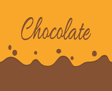 trickling: Vector of trickling dark chocolate and label background. Simple illustration banner. Orange and brown colour. Illustration