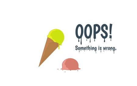 Oops error page with melting ice cream