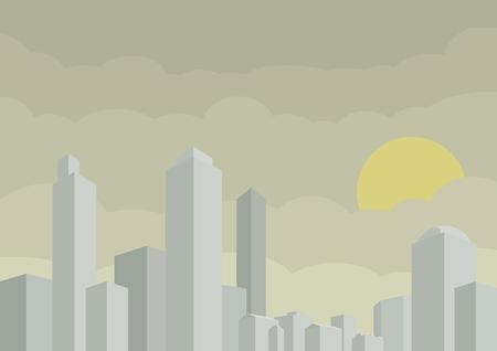 Ville stylisée de vecteur avec buildng et gratte-ciel. Scène de paysage de la métropole Banque d'images - 72632610