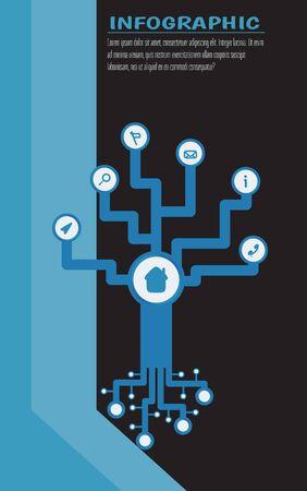 Arbre tech infographique avec espace rond pour symbole. Lieu de texte. Illustration vectorielle Fond noir et rayures bleues Banque d'images - 73052903