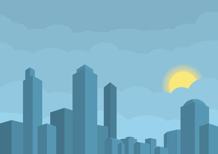 Illustration vectorielle de la ville moderne. Soleil caché dans les nuages ??sur le fond bleu Banque d'images - 76827729