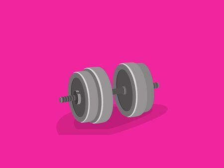 Formation de fitness féminin avec haltère sur fond rose. Vector illustration style cartoon. Banque d'images - 77095241