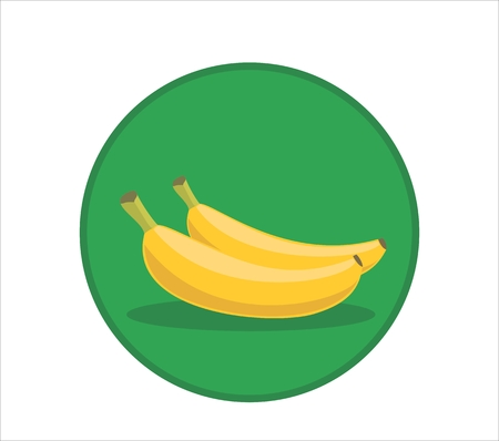 Fresh yellow banana cartoon vector illustration. Rounded symbol icon. Green background Illustration