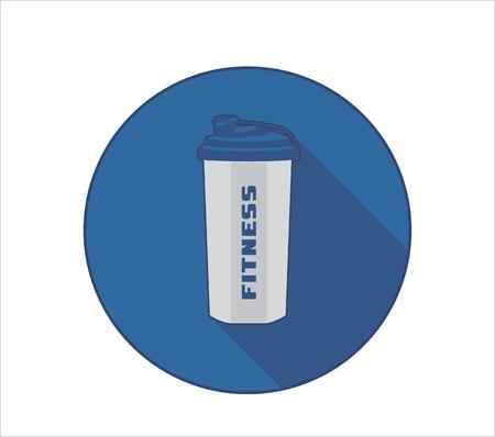 Icône de mode de vie Fittness avec symbole de bouteille de sport et texte de remise en forme. Fond de cercle bleu avec ombre portée Banque d'images - 80491869