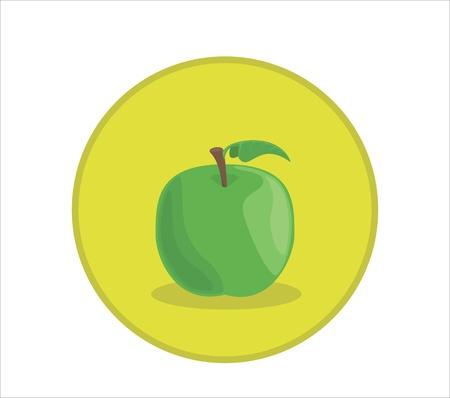 Illustration vectorielle de pomme verte fraîche. Badge de symbole arrondi Banque d'images - 83258388