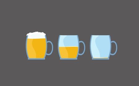 Illustration de bière dessin animé de plein à vide verre de boisson alcoolisée Banque d'images - 83253789