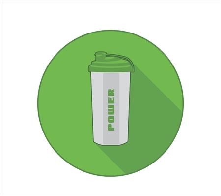 Icône de mode de vie Fittness avec symbole de bouteille de sport et texte d'alimentation Fond vert Banque d'images - 84656494